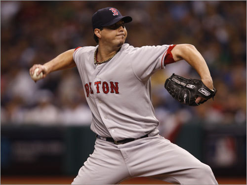 Josh Beckett delivered a pitch early in the game.