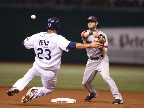 Red Sox second baseman Dustin Pedroia (right) fired the ball over the head of Rays first baseman Carlos Pena (left) on a doubleplay that ended the first inning.
