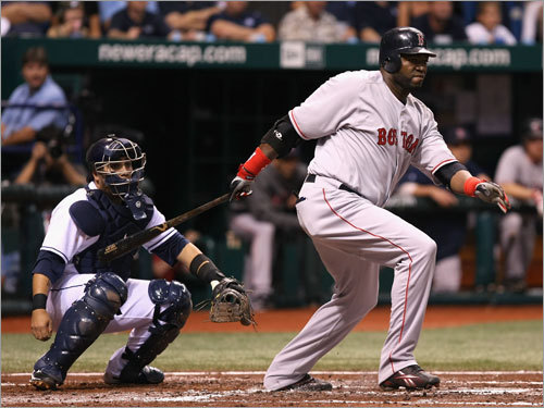 Red Sox slugger David Ortiz stroked a double down the right field line in third inning.