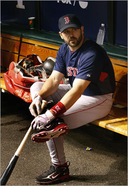 Red Sox catcher Jason Varitek looked on during warmups.