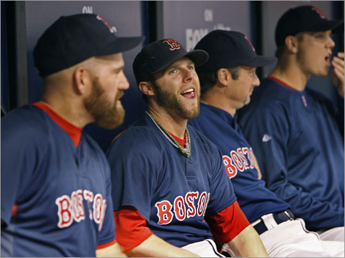 Red Sox players Kevin Youkilis (left) and Dustin Pedroia (center) shared a laugh in the dugout before the game.