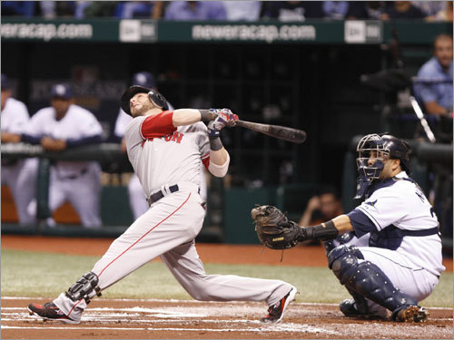 Red Sox second baseman Dustin Pedroia popped out with a man on first base in the first inning.