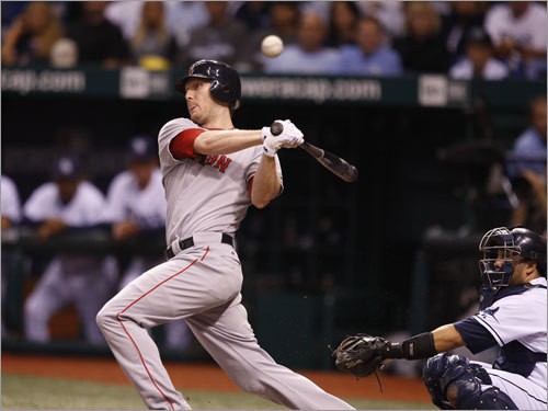 Red Sox left fielder Jason Bay fouled off a pitch in the fourth inning.