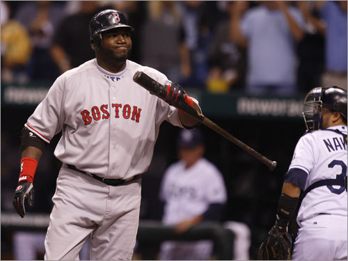 Red Sox slugger David Ortiz reacted after striking out to end the third inning.