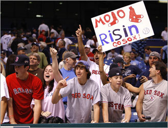 Red Sox fans celebrated their team's win at Tropicana Field in St. Petersburg.