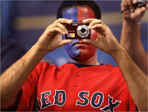 A Red Sox fan came painted for the occasion.