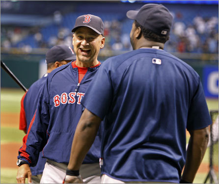 Red Sox manager Terry Francona is all smiles as he chatted with David Ortiz before Game 7.