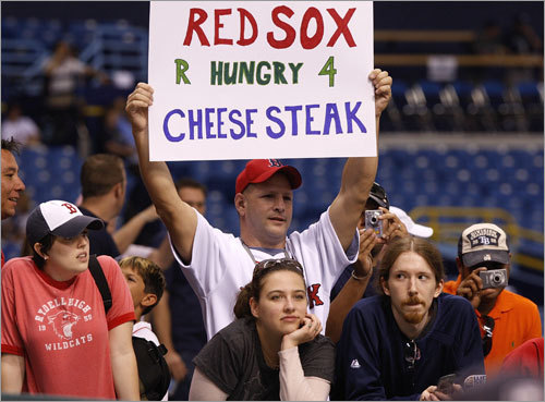 This Red Sox fan is looking ahead to a possible World Series against the Philadelphia Phillies.