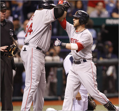 Red Sox DH David Ortiz (left) celebrated with Dustin Pedroia (right) at home plate after Pedroia's first inning home run gave the Sox the 1-0 lead.