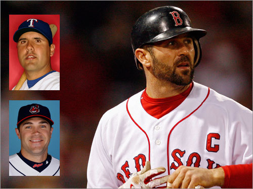 Jason Varitek The Sox have to decide whether to re-sign Jason Varitek (right), who is invaluable defensively but steadily declining at he plate. Regardless of what they decide, they need a younger, long-term solution. They tried to trade for Texas's Gerald Laird (top left) last winter, and Cleveland's Kelly Shoppach (a former Sox farmhand) is an up-and-coming backstop worth a look.