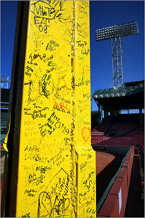 Workers will paint the Pesky pole, which is covered in people's signatures.