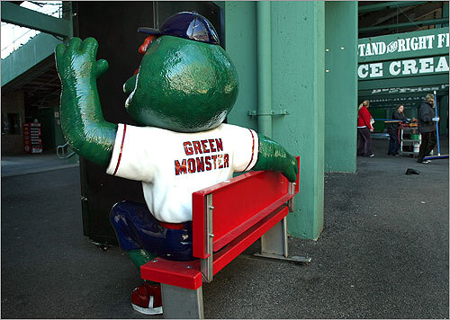 'Wally' the Green Monster, sitting in the concession area in right field, won't have anybody to wave to.