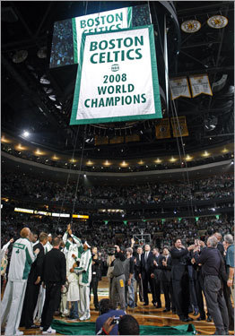 Celtics players watched the 17th championship banner rise to the rafters during the pregame celebration.