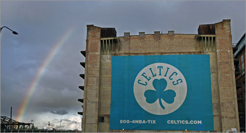 The Celtics already found their pot of gold, but before they began their title defense against the Cleveland Cavaliers, a rainbow appeared over the building across from the TD Banknorth Garden.