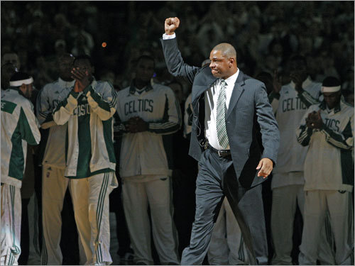 Celtics head coach reacted to the ovation he received when he was called to receive his championship ring.