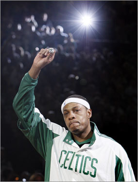 Paul Pierce reacted after receiving his championship ring during the pregame ceremony.