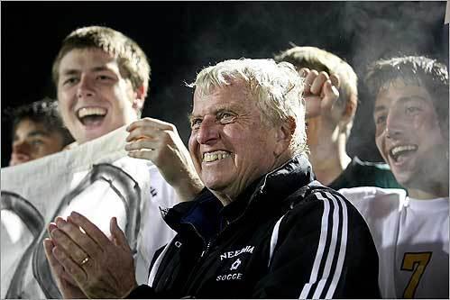 Needham boys soccer coach Don Brock