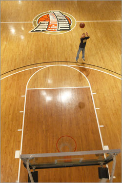 Mark Joe takes a 3-point shot at the Basketball Hall of Fame