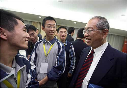 "Professor Shing-Tung Yau, chairman of Harvard's math department who conceived of last month's competition, met with students at the event. Yau hoped to funnel a generation of Chinese high school students into America's premiere colleges. ""With the help of mathematics and scholarships I finished my education in the United States,"" said Yau, 59, who is considered one of the world's greatest mathematicians. ""I also want to help the very poorest students in China make their dreams come true."""