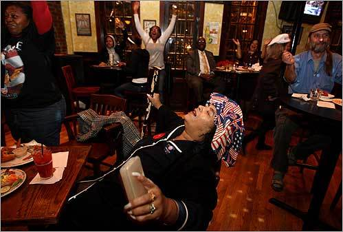 Eileen L. Kenner celebrated at the Breezeway Bar and Grill in Boston after Barack Obama was declared the winner in the presidential election on Nov. 4.