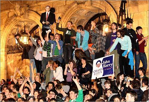 About 300 young people, mostly students, climbed the steps of the Boston Public Library on Nov. 4, as they celebrated Barack Obama's presidential win.