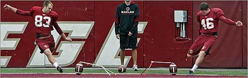Boston College kickers Steve Aponavicius (83, left) and Ryan Quigley (46, right) worked out at during practice in Chestnut Hill on Nov. 5.