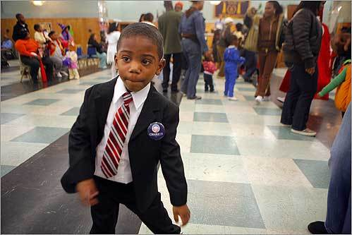 Dressed as presidential candidate Barack Obama, Demetri Erby, 3, danced during a Halloween party at the Prince Hall Grand Lodge in Roxbury on Oct. 31.