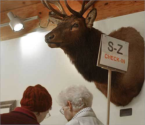 A stuffed head kept an eye on the voting at Elk's Lodge 1393 in Rochester, N.H., during the national election on Nov. 4.