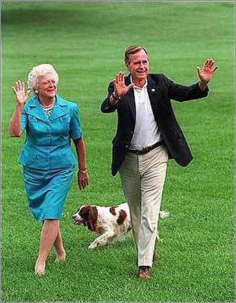 Don't forget the dog's-eye view President George H. W. Bush's springer spaniel, Millie, even 'wrote' a book that offered a dog's-eye view of the presidency. Left, former President Bush and Barbara Bush on the White House South Lawn in 2002.