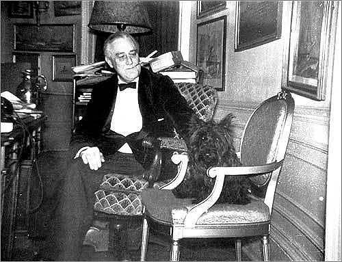 Fala, the First Dog 'First dogs' have historically occupied a prominent place in the White House. Left, President Franklin D. Roosevelt and his Scottish terrier, Fala, in 1938.