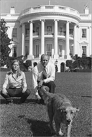 Liberty reigns in the White House Liberty, left, the golden retriever, was top dog at the White House when Gerald Ford was president in 1974.