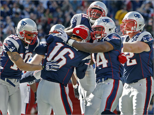 Week 10 Cassel (center) was mobbed by his teammates after his 13-yard TD scramble that put the Patriots ahead, 7-0, in the first quarter. Cassel connected on 23 of 34 passes for 234 yards and, while he threw neither a touchdown nor an interception, his rush jump-started a 20-10 triumph over the Bills that kept the Patriots (6-3) atop the AFC East (along with the Jets).