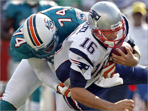 Week 3 The Patriots' 38-13 home loss to the Dolphins was a forgettable one for Cassel . He completed 19 of 31 passes for only 131 yards, was sacked three times, fumbled once and was intercepted once. His interception total could have been higher if not for a penalty and a couple of drops by defensive backs. He was replaced by rookie Kevin O'Connell with six minutes left in the game and booed lustily by the Foxborough crowd.