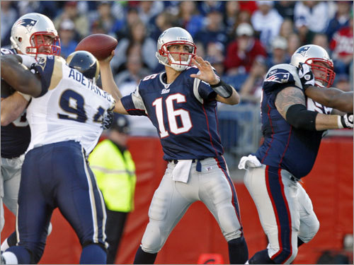Week 8 Though he threw two INTs earlier in the game, Cassel found Kevin Faulk in the corner of the end zone in the fourth quarter, leading the Patriots to a 23-16 win in Foxborough. New England improved to 5-2 as Cassel went 21-for-33 for a career-high 267 yards.