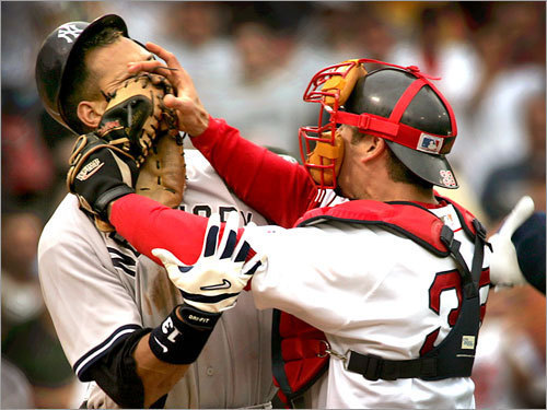 2004: Varitek takes on A-Rod The Red Sox' comeback win on July 24 was the spark in their title run, and the fight between Jason Varitek and Alex Rodriguez was symbolic. The Yankee star took exception to a third-inning plunking and mouthed off to Varitek, who shoved his mitt in A-Rod's face and set off a melee.