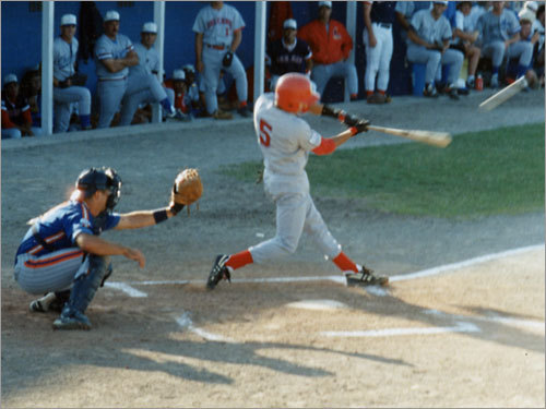 1993-94 Varitek, shown here catching for the Hyannis Mets while future teammate Nomar Garciaparra hits a home run, spent two summers playing in the Cape Cod League. He won the 1993 batting title and was named league MVP. He was Minnesota's first pick (21st overall) in the '93 draft, but turned down a $350,000 contract offer to return to school. Drafted by Seattle in '94 (14th overall), Varitek did not report to Mariners camp, opting to stay home while he and his agent, Scott Boras, insisted the M's lowballed them .