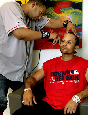 Barber LMontro cut Coco Crisp's hair in his apartment building before heading over to Fenway Park.