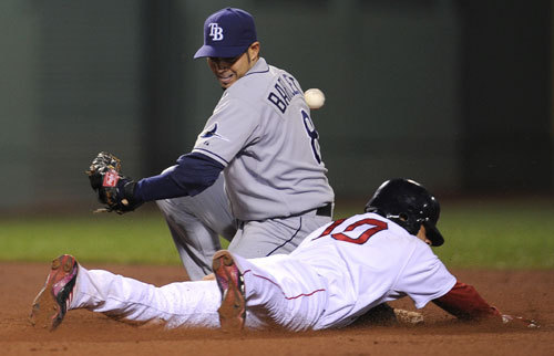 Coco Crisp stole second base as Rays shortstop Jason Bartlett couldn't get a handle on the throw from catcher Dioner Navarro. Crisp stole 20 bases for the Sox in 2008.
