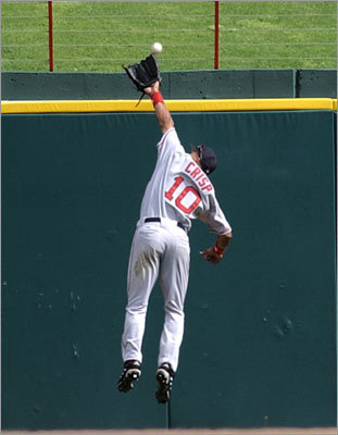 Crisp caught a fly ball at the wall for the out against the Rangers Laynce Nix in the ninth inning in Arlington, Texas in his Red Sox debut.