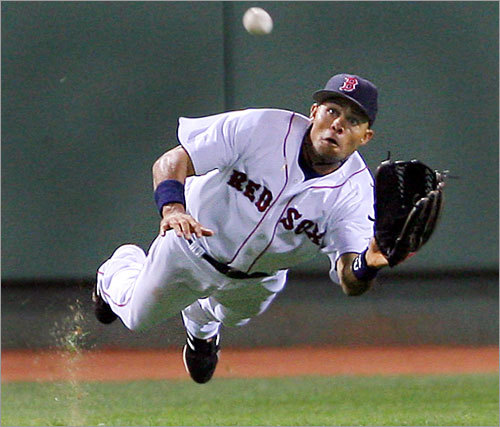 Crisp made a great diving catch to rob the Angels's Adam Kennedy of a hit with the bases loaded at Fenway.
