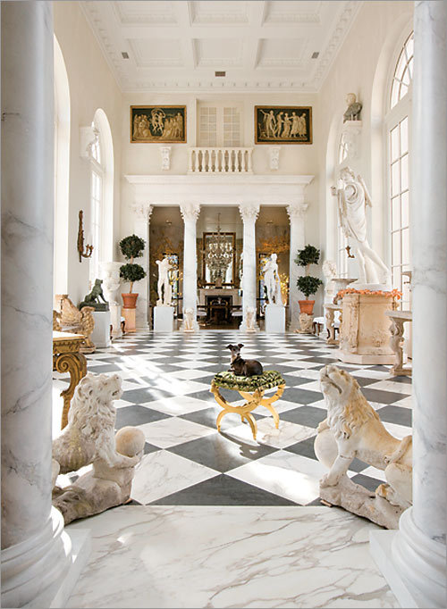 Opulence unveiled All of the 20-foot-high doors in the loggia open to the outside. The couple host most of their parties in the space and plan to hold Thanksgiving dinner there this week, bringing in a 30-foot-long table to seat family and friends.