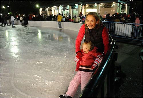 4. Skate at Frog Pond Test your ice skating skills on America&#146;s oldest public park&#146;s ice skating rink. Frog Pond is open for another season of city skating. Glide alongside local residents or visitors as you train for Olympic gold or just enjoy a romantic evening out with your special someone. Admission is $4 per person, and children under 13 are free. Skate rentals are $9 and $5 for children under 13.