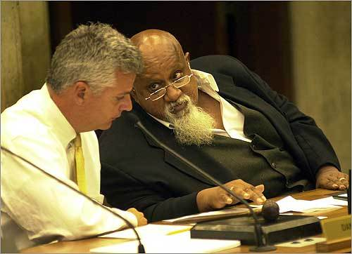 In 2004, Turner and activist Sadiki Kambon held a news conference where they presented photos they said showed US soldiers in Iraq raping Iraqi women. The Boston Globe questioned the legitimacy of the photos, which were then proven to be bogus. Turner was criticized by political commentators such as Rush Limbaugh and six city councilors. At left, Turner (right) with then-City Councilor Daniel Conley, who is currently Suffolk district attorney.