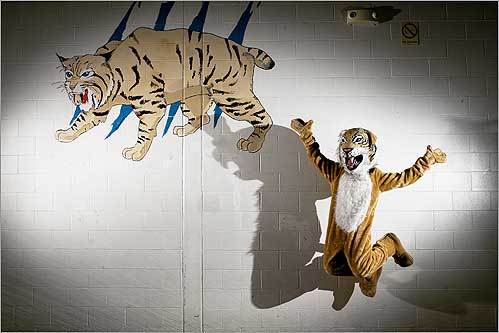 Megan Torres, sophomore, cheerleader, and mascot at Wilmington High School in Wilmington, Mass., showed her school spirit on Sept. 9.