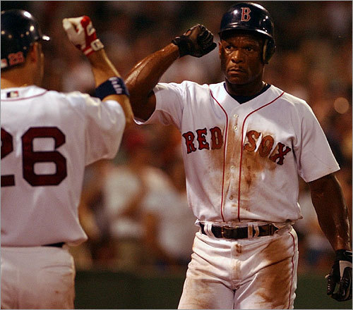 Rickey Henderson Henderson, the all-time MLB leader in runs scored and stolen bases, was a member of the Red Sox for one season (2002). Known as the 'Man of Steal' for his baserunning exploits, Henderson played in the majors from 1979 to 2003 and is considered one of the greatest leadoff hitters in history. This is the 1990 AL MVP's first time on the ballot, and he is expected to slide in without a throw.