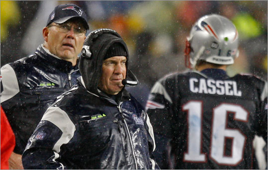 Patriots coach Bill Belichick and quarterback Matt Cassel hope to be playing football in January.