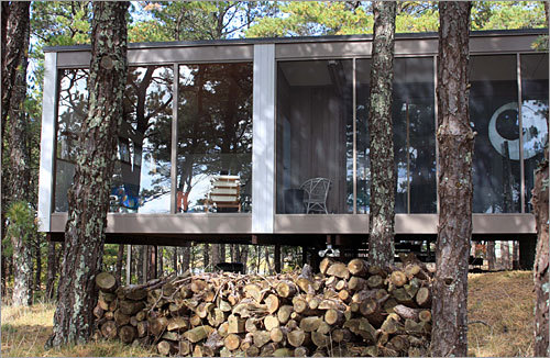 A look at the walls of windows in the cottage designed by Marcel Breuer, which was built in 1963.