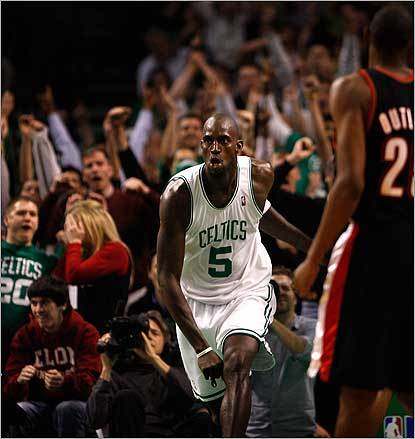 Boston Celtics forward Kevin Garnett brought the fans to their feet after a dunk late in the fourth quarter against the Trailblazers on Dec. 5.