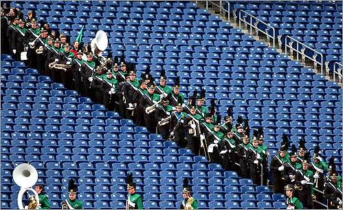 Mansfield's marching band entered the stadium for the Division 2 Superbowl game between Mansfield and Walpole at Foxboro on Dec. 6.