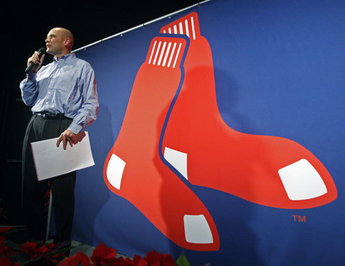 Red Sox COO and president of Fenway Sports Group Mike Dee unveils the newly tweaked logo.